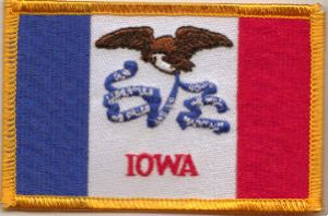 Iowa Embroidered Flag Patch, style 08.